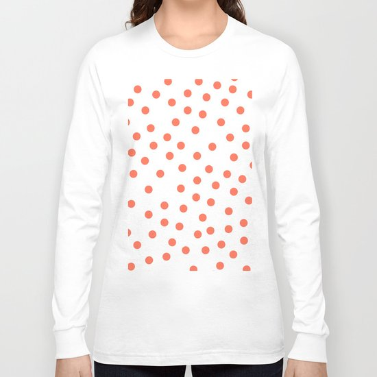 Simply Dots in Deep Coral on White Long Sleeve T-shirt