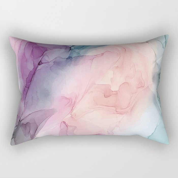 Dark and Pastel Ethereal- Original Fluid Art Painting Rectangular Pillow