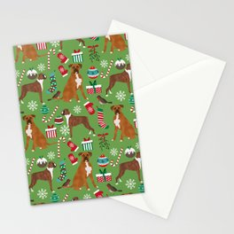 Boxer dog christmas pattern must have holiday themed dog breed pet friendly accessories for home Stationery Cards