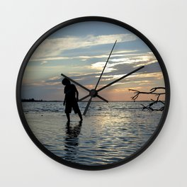 Watercolor People in Nature, NSS, Children 12, Janes Island, Maryland Wall Clock