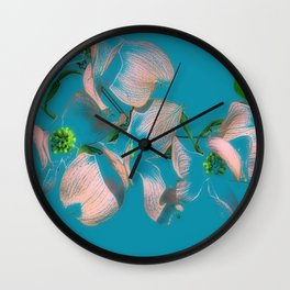 Dogwood Tree Flowers (aqua background) Wall Clock