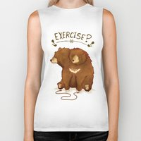 fitness Biker Tanks featuring Fitness Bear by sociopteryx