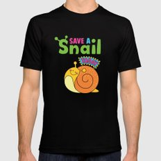 Save a Snail Today! SMALL Mens Fitted Tee Black