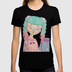 Cat Lady Womens Fitted Tee SMALL Black