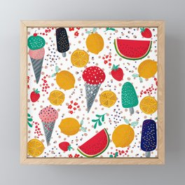 Colorful summer foods and flowers pattern Framed Mini Art Print