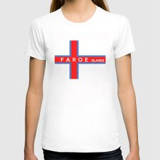 faroe islands country flag name text SMALL Womens Fitted Tee White