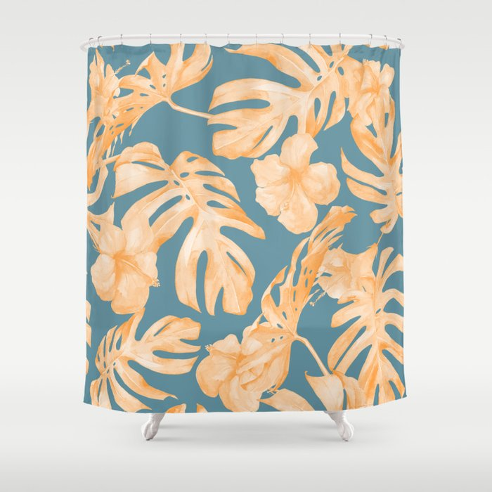 Island Hibiscus Palm Coral Teal Blue Shower Curtain by ...