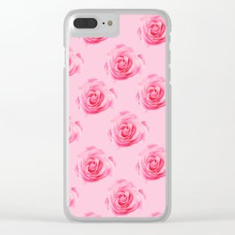 Pink Rose Swirly Petals Clear iPhone Case