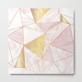 Blush & Gold Geometric Marble Metal Print