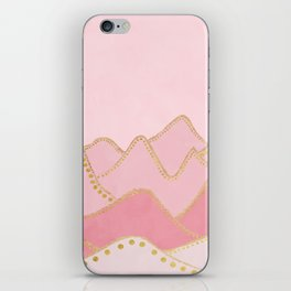 Pink Mountains with gold dots iPhone Skin