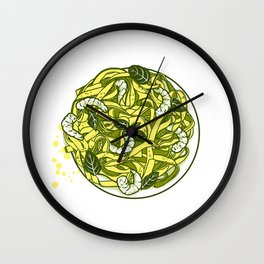Pasta with shrimps Wall Clock