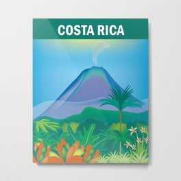 Costa Rica - Skyline Illustration by Loose Petals Metal Print