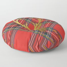 Gold Stag Head On Red Tartan Floor Pillow