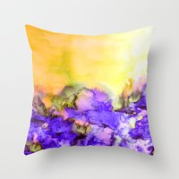 jazzberry Throw Pillows featuring INTO ETERNITY, YELLOW AND LAVENDER PURPLE Colorful Watercolor Painting Abstract Art Floral Landscape by EbiEmporium