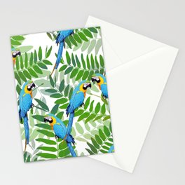 green Leaves with blue Makaw Birds Stationery Cards
