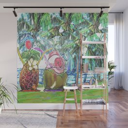 Tropical Summer Cocktails and Sailing Boats Wall Mural