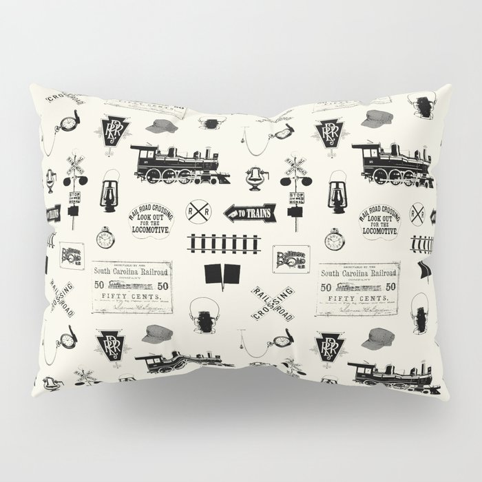 Railroad Symbols // Beige Pillow Sham
