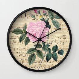 Pink Rose Music Wall Clock