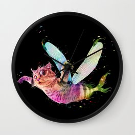 Psychedelic flying cat-fish - colorful - animal-lovers Wall Clock