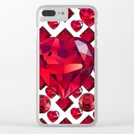 RUBY GEMS JEWELED  VALENTINE RUBY HEARTS  DESIGN Clear iPhone Case