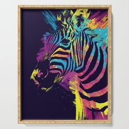 Zebra Splatters Colorful Animals Serving Tray