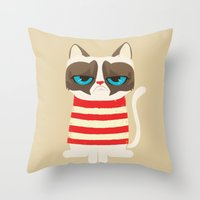 meme Throw Pillows featuring Grumpy meme cat  by UiNi