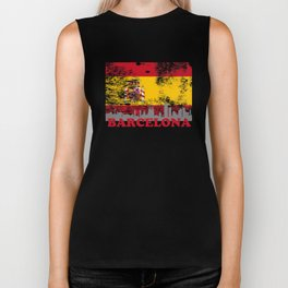 Barcelona Skyline Silhouette City Spain Distressed Flag Biker Tank