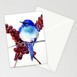 Bird Blue red , Mountain Bluebird adn berries Stationery Cards