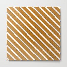 Peanut Butter Diagonal Stripes Metal Print