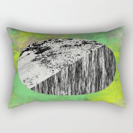 Devoid of Colour - Abstract, geometric, black and white, colour art Rectangular Pillow