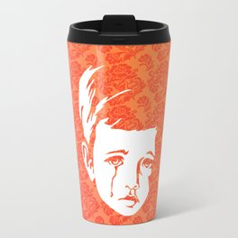 Faces - crying gypsy boy on a red and orange floral background Travel Mug