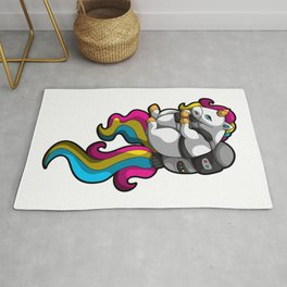 Chubby Unicorn With Jetpack - Cute And Mythical Rug