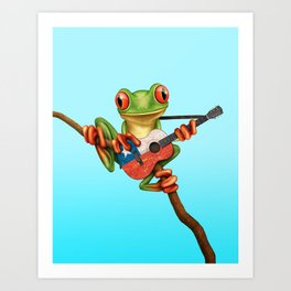 Tree Frog Playing Acoustic Guitar with Flag of Chile Art Print