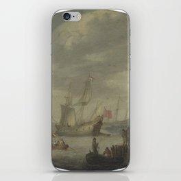 Abraham de Verwer - Armed Merchantmen off the Dutch Coast Preparing to Set Sail (early 17th C) iPhone Skin