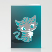 cheshire cat Stationery Cards featuring Cheshire Cat by Pixelowska