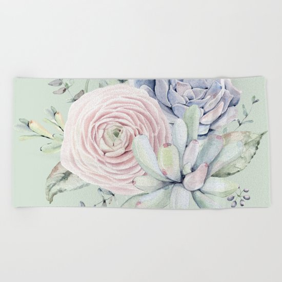 Mint Green + Pink Delight Succulents Beach Towel