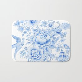 Blue asiatic pheasant Bath Mat