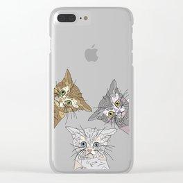 Triple Kitties Clear iPhone Case
