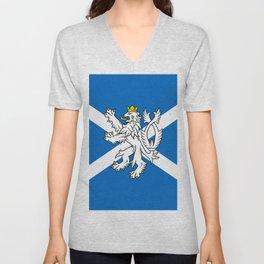 Blue and White Scottish Flag with White Lion Unisex V-Neck