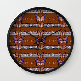 COFFEE BROWN BLUE MONARCHS BUTTERFLY BANDS ART Wall Clock