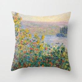 1881-Claude Monet-Flower Beds at Vétheuil-73 x 92 Throw Pillow