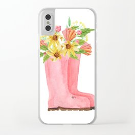 Pink rain boots with flowers Clear iPhone Case