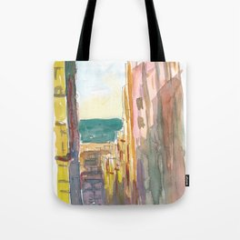 Lavapies Madrid Street Scene WIth Sun And Shades Tote Bag