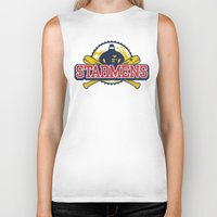 earthbound Biker Tanks featuring Starmens by MeleeNinja