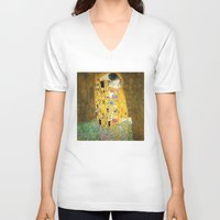 vienna V-neck T-shirts featuring Gustav Klimt The Kiss by Art Gallery