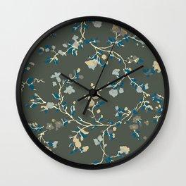 vintage floral vines - greys Wall Clock