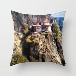 Taktshang Goemba - Tiger's Nest Monastery Throw Pillow
