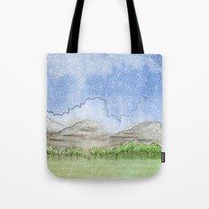 Snowy Watercolor Landscape Tote Bag
