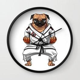 Karate Pug Dog Martial Arts Ninja Wall Clock