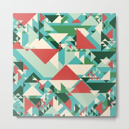 Abstract geometric background. Modern overlapping large and small triangles. Metal Print